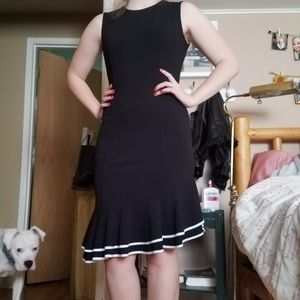 {tommy hilfiger} little black dress white ruffle